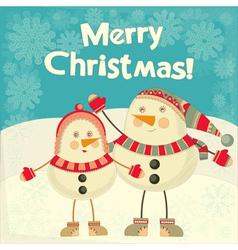 Two Cartoon Cute Snowmans vector image vector image