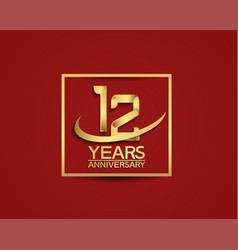 12 years anniversary with square and swoosh vector