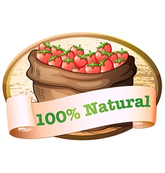 A sack of strawberries with a natural label vector