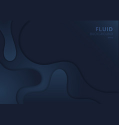 abstract fluid wave shape dark blue background vector image