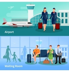 Airport People Flat Compositions vector