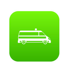 ambulance car icon digital green vector image