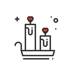 aroma candle line icon heart sign and symbol vector image