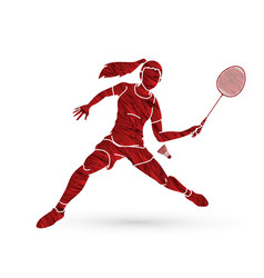 Badminton player action sport action cartoon vector