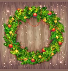 beautiful christmas wreath on wood beautiful vector image