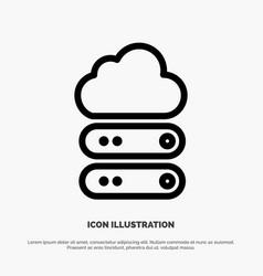 Big cloud data storage line icon vector