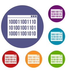 binary code icons set vector image