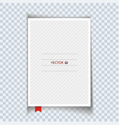Blank notebook with red bookmark isolated vector