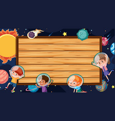 border template with space theme in background vector image