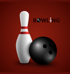 bowling poster with ball and pin template vector image