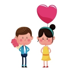 boy with bouquetflowers and girl heart balloon vector image