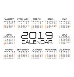calendar 2019 black orange text number on white vector image