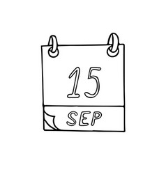 Calendar hand drawn in doodle style september 15 vector