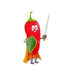 cartoon chili pepper superhero isolated icon vector image