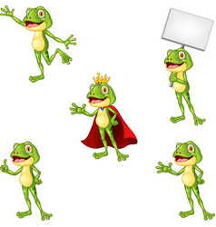 Cartoon frog collection set vector