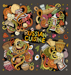 Cartoon set of russian food doodles designs vector