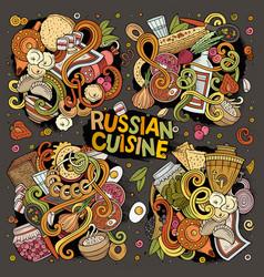 Cartoon set russian food doodles designs vector