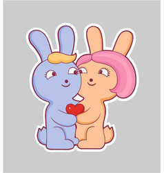 Cartoon style love sticker vector