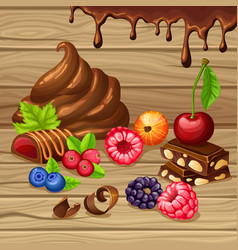 cartoon sweet products set vector image