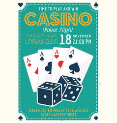 Casino and poker invitation colored poster vector