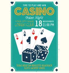 casino and poker invitation colored poster vector image