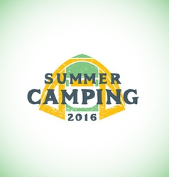 color summer camping sign template vector image