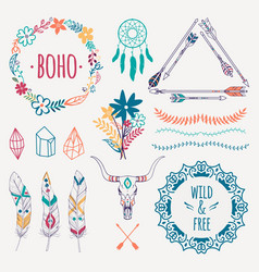 colorful ethnic set with arrows feathers crystals vector image
