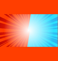 comic blue sun rays background pop art retro vector image