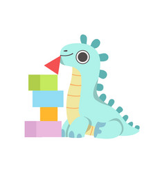 cute blue little dino playing with toy pyramid vector image