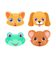 cute cat dog frog and bear face or mask set vector image