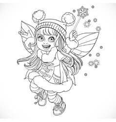 Cute little winter fairy girl in a blue coat with vector image