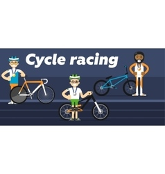 Cycling team award with gold silver and medals vector