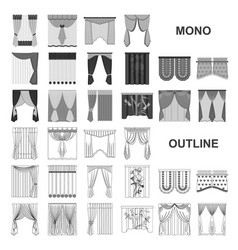 Different kinds of curtains monochrom icons in set vector
