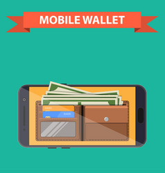 Digital mobile wallet vector