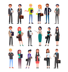 Entrepreneurs executive workers men and women set vector