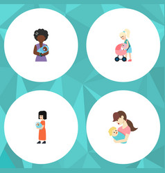 Flat icon parent set of mam mother child and vector