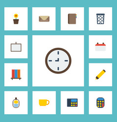 Flat icons contact whiteboard identification and vector