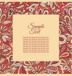 Floral doodle ethnic pattern frame rosy and brown vector