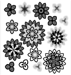 Flower petals overlapping black and white vector image