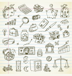 Freehand drawing business and finance items vector