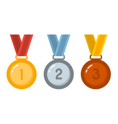 gold silver bronze medals in flat style design vector image