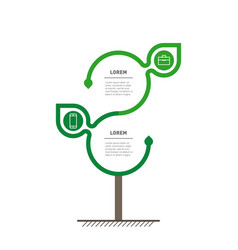 Green business concept with 2 options parts steps vector