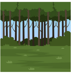 Green field and forest summer landscape nature vector