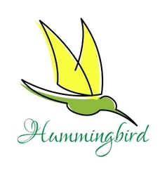Green hummingbird with pointed wings vector image