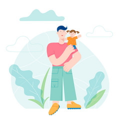 happy father day concept card with smiling dad vector image