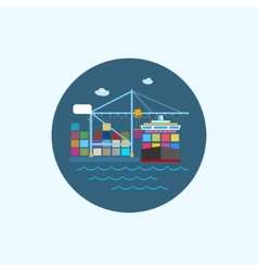 Icon with colored cargo container ship and cargo vector image