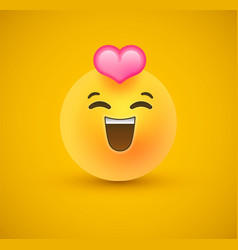 In love yellow emoticon face 3d background vector