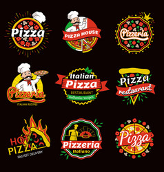 Italian pizza restaurant promotional emblems set vector