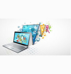 laptop as a book concept learning vector image