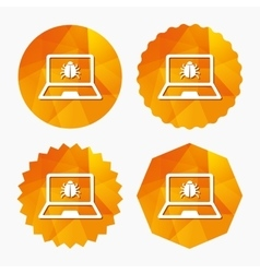 Laptop virus sign icon Notebook software bug vector image